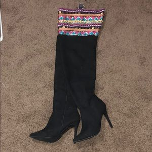 Thigh high black jeweled boots!!!!